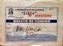 11 - Cooperativa transporte Loja - boleto,billete,tiquet Puyango - Machala 3,5$ (Ecuador, enero 2013)